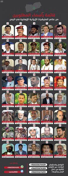 المملكة تعلن أرقام الإبلاغ عن قائمة الـ40 حوثيًا المطلوبين أمنيًا