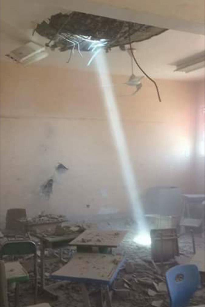 مقذوف حوثي يسقط على مدرسة ابتدائية بالعارضة